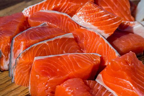 Copper River Salmon Filets on Cutting Board