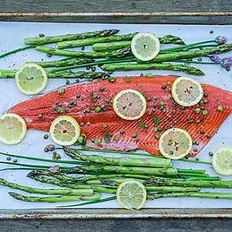 Sheet Pan Salmon Piccata, by Diane Wiese, F/V Martin Is.